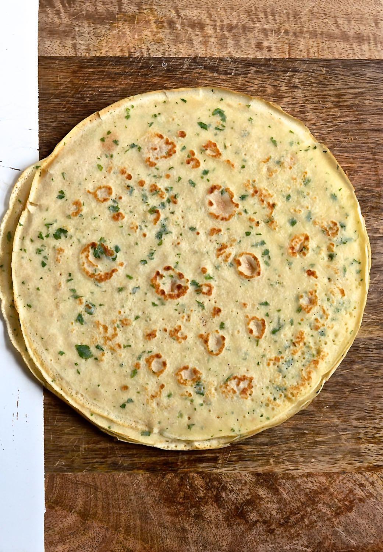 Chicken a la King parsley pancake