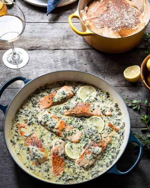Salmon with Spinach and Artichoke Sauce
