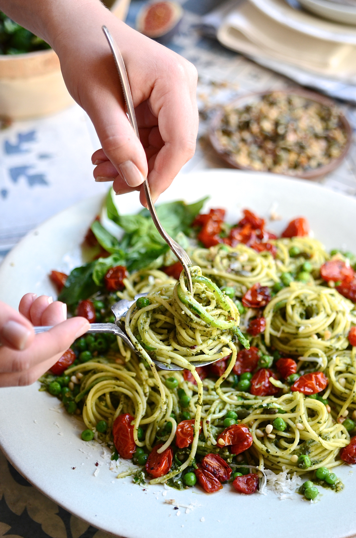 Healthy Basil Pesto Pasta