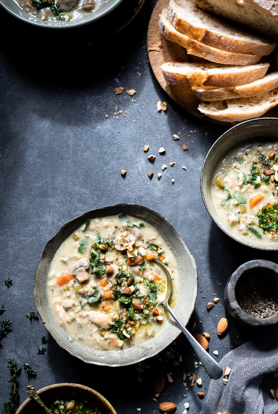 Wild Rice Chicken Soup with Minty Salsa